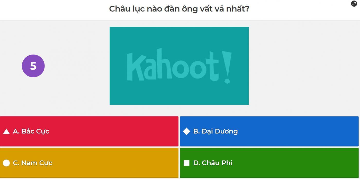 Câu hỏi của chương trình sử dụng KAHOOT